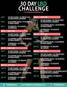 30 Day Little Black Dress Challenge Chart| starting this today, with a few modifications. I added in daily overhead presses and 15-30 minutes on the rowing machine!