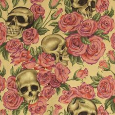 Resting In Roses Tea Cotton Fabric by Alexander Henry Upholstery Fabric For Chairs, Brisbane Australia, Cork Fabric, Voodoo, Creative, Rabbit, Goth, Cotton Fabric, Skull