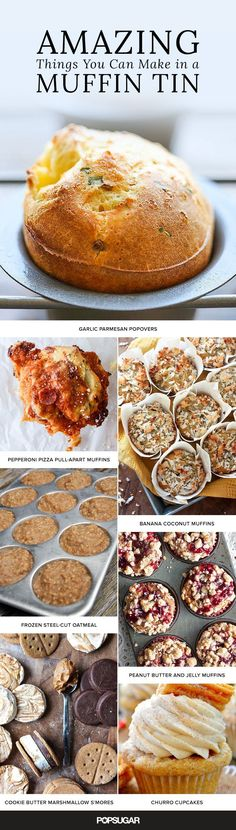 All you need is a muffin tin to bake off these easy handheld recipes. Test out yummy creations like Garlic Parmesan Popovers and Cheesy Bacon Tater Tots and get inspired by our list of amazing things (Muffin Recetas Ideas) Breakfast Casserole, Breakfast Recipes, Dessert Recipes, Eat Breakfast, Egg Recipes, Breakfast Ideas, Muffin Pan Recipes, Popover Recipe, Coconut Muffins