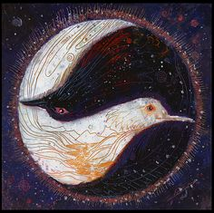 BIRDS: Raven, Dove Painting Yin Yang symbol. Balancing each other out to create harmony between the two