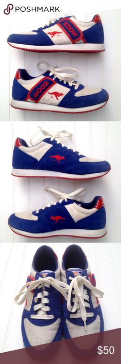 """Vintage 80s Kangaroos sneakers pocket tennis shoes Red, white, and blue men's size 9.5 / 42.5 Kangaroos straight from the 1980s! Suede and fabric upper and zippered pockets beneath Roos Velcro flaps. Kangaroos abound on exterior side, tongue, back and in interior print! EUC considering their age--white of uppers is slightly yellowed with age. Red rubber soles. Insole measures 11"""". Width at widest on bottom: 3 3/4"""". Feel free to ask questions or make an offer! KangaRoos Shoes Sneakers"""