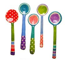 Wonderful spotty, stripey and circle ceramic spoons by Ken Eardley...would be pretty in a kitchen wreath