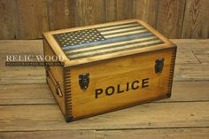 Personalized keepsake Handcrafted in America, Police Thin Blue Line gift features flag and thin blue line on lid, and Police text on front. Great Gift for Police Officers.