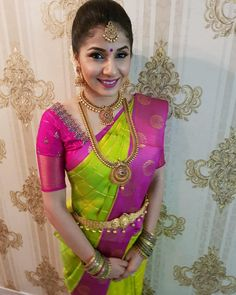 Our love for intricate details and elegant embroidery is only possible because of amazing clients with similar sensibilities… Pattu Saree Blouse Designs, Fancy Blouse Designs, Bridal Blouse Designs, South Indian Bride Jewellery, Saree Jewellery, Bridal Jewellery, Indian Bridal Photos, Engagement Saree, Trendy Sarees