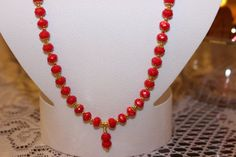 Red Glass Beaded Necklace with Gold-Plated Caps by AngeleDesignsLA