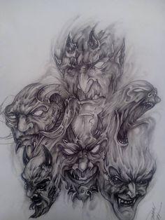 Chicano Drawings, Creepy Drawings, Cool Art Drawings, Hannya Tattoo, Demon Tattoo, Tattoo Design Drawings, Tattoo Designs, Aztec Drawing, Goblin Art