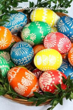 Easter eggs decorated with wax and food dyes