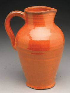 Orange Earthenware Pottery Pitcher