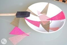 DIY. Dish ring. Reuse an old dish and decorate it with  tissue paper