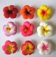 Set of 20 ~Hawaiian Hawaii Bridal Wedding Party Hibiscus Foam Flower Hair Clips Hibiscus Wedding, Luau Wedding, Hibiscus Flowers, Tropical Flowers, Diy Flowers, Flowers In Hair, Paper Flowers, Flower Diy, Flower Ideas
