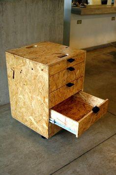 OSB with fabric pulls Plywood Furniture, Diy Furniture, Chipboard Interior, Osb Wood, Wood Projects, Woodworking Projects, Casa Clean, Woodworking Inspiration, Diy Holz