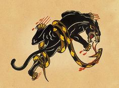 Panther and snake. Old School Tattoos