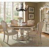 """A.R.T.""""Provenance Round Dining Table in Distressed Brown and Ivory- love this with 2 arm chairs and 2 armless. I even love the china cabinet."""