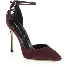 Sergio Rossi Suede Lace-Up Back Pumps (4.605 VEF) ❤ liked on Polyvore featuring shoes, pumps, apparel & accessories, burgundy, ankle wrap pumps, burgundy suede pumps, suede lace up shoes, cushioned shoes and lace up pumps