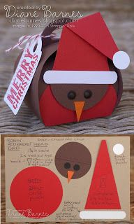Christmas robin redbreast bird box, hat tag & instructions using Stampin Up Curvy keepsake box die & punches. By Di Barnes #colourmehappy