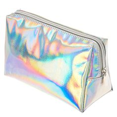 """<P>Keep your makeup and cosmetic brushes organized in striking style with this cosmetic bag. The silver triangular shaped case has a holographic finish for a vibrant look. Perfect to travel with.</P><UL><LI>Vinyl<LI>Zip top closure<LI>7 1/2""""L x 5""""H x 3 1/2""""W</LI></UL>"""
