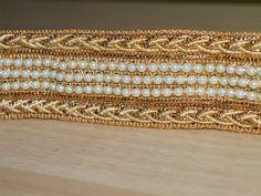 9 Metres Indian Antique Gold Glitter Sequin Trim Ribbon Border Lace Ethnic X16