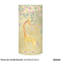 Watercolor Giraffe Butterflies and Blossom