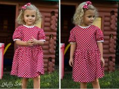Minnie Mouse style dress made using the Fiesta Frock dress for girls with free pattern - Melly Sews