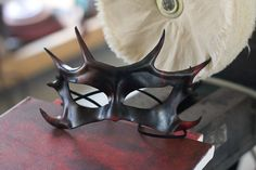 Black and Red Horned Leather Mask by OsborneArts