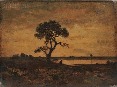 Théodore Rousseau (French, 1812-1867) Twilight Landscape with Tree and Figure at a Pond - Skinner Auctio...