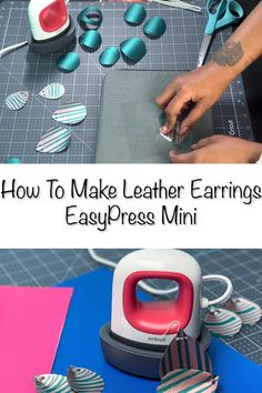 These diy faux leather earrings are so easy to make with a Cricut. Templates make it super easy to cut the faux leather. And this faux leather jewelry project doesn't require a special blade for your Cricut machine. Inkscape Tutorials, Cricut Tutorials, Cricut Ideas, Cricut Project Ideas, Cricut Craft Room, Cricut Vinyl, Buy Vinyl, How To Make Leather, Diy Leather Earrings