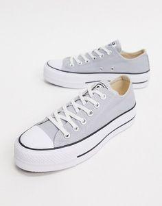 Converse chuck taylor lift platform gray sneakers. #converse #sneakers #platformsneakers #activewear Grey Trainers, Grey Sneakers, Sneakers Fashion, Converse Sneakers, Converse Chuck Taylor, Converse All Star, Platform Converse, Platform Sneakers, Sneaker Heels