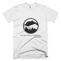 Short sleeve men's t-shirt with Explore.Dream.Discover on front and #KeepItWild on back of shirt