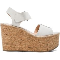 Raquel Allegra Suede Erin Sandals (655 CAD) ❤ liked on Polyvore featuring shoes, sandals, cork platform wedge sandals, ankle strap sandals, velcro shoes, ankle wrap sandals and platform shoes