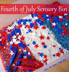 Fourth of July Sensory Bin - Stay At Home Educator