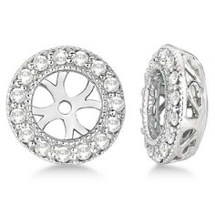 14K White Gold Lab Diamond Round White Dangle Pave LeverBack Earrings 0.52ct