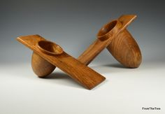 Two offset elm bowls. made by G.Watkins