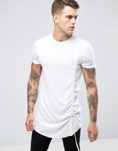 Image 1 ofASOS Super Longline T-Shirt With Ruched Front In White