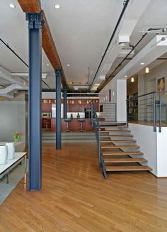 industrial loft staircases   Staircase Loft Apartment Design by Rodriguez Studio Architecture P.C.