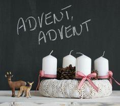 moderner Adventskranz-selber basteln gestrickt
