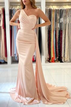 Wanna know where to get a perfect dress for your ball? Check out this one shoulder mermaid ball dress from ballbella.com, fast delivery worldwide. Lace Homecoming Dresses, Mermaid Prom Dresses, Formal Evening Dresses, Ball Dresses, Evening Gowns, Strapless Dress Formal, Prom Gowns, Formal Gowns, Long Dresses