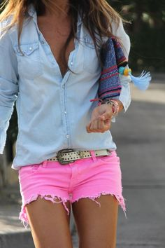 Denim shirt with shorts #fashion love the color of the shorts!!