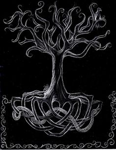 dark+tree+paintings | Yggdrasil by ~darkrosefairy77 on deviantART
