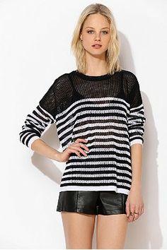 BDG Stripe Mesh Sweater