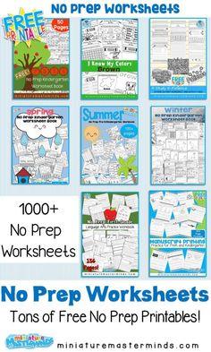 No Prep Printable Worksheet Packs Ages 4 - 6 ⋆ Miniature Masterminds