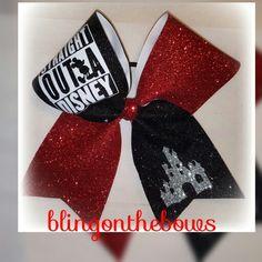 Straight outta Disney cheer bow Www.blingonthebows.com  #cheerbows #blingonthebows #cheerleader #bows #cheerleading #fiercecheerbows #cheergear #disney