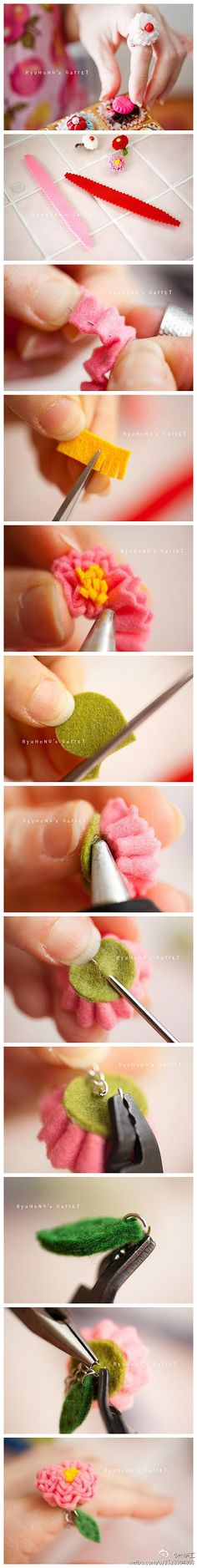 DIY felt little flower for a ring  #howto #tutorial #felt #ring #flower #diy #craft