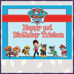 This Paw Patrol Birthday Sign is 8x10 inches. The download is a high resolution JPEG file of the sign. See the whole set of Paw P...