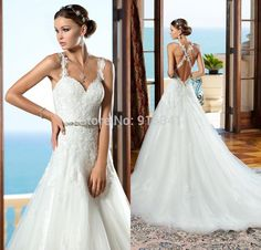 Cheap dress velour, Buy Quality dress blouse directly from China gown pageant Suppliers: 2015 Romantic Ball Gown Beach Backless Crossover Lace Straps Wedding Dress Long Bridal Gown with Bead Waistband in Chin