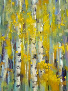 Aspens in Autumn11x14 Original Pastel by Karen Margulis