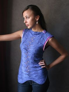 Hand Knited  Blouse / Shirt in blue by sprincegita on Etsy