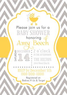 """Baby Shower invitation gray and yellow chevron  check out matching """"Wishes for Baby"""" card https://www.etsy.com/listing/175873023/wishes-for-baby-in-gray-and-yellow"""