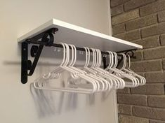 Laundry room organization – hanger idea Really like this with the shelves and clothes hanger. Laundry room organization – hanger idea Really like this with the shelves and clothes hanger. Laundry Room Shelves, Laundry Storage, Laundry Room Organization, Laundry Room Design, Diy Storage, Laundry Rooms, Organization Ideas, Closet Shelves, Storage Shelves