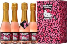 Hello Kitty Non-alcohol sparkling drink with the gift Box and the gift card