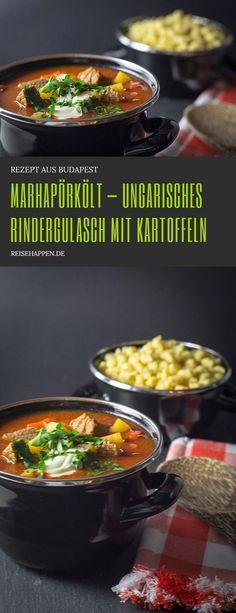 Marhapörkölt  – ungarisches Rindergulasch Rindergulasch mit Kartoffeln und Paprika Kinds Of Soup, Soups And Stews, Hungary, Budapest, Crockpot, Slow Cooker, Chili, Vegetarian, Nutrition